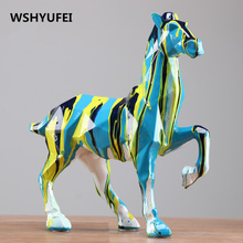 Modern Abstract Black Horse Sculpture Geometric Resin Leopard Statue Wildlife Decor Gift Craft Ornament Accessories Furnishing