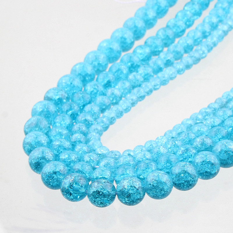 Natural Stone Beads Blue Snow Cracked Quartz Crystal Beads ... Quartz Crystal Beads
