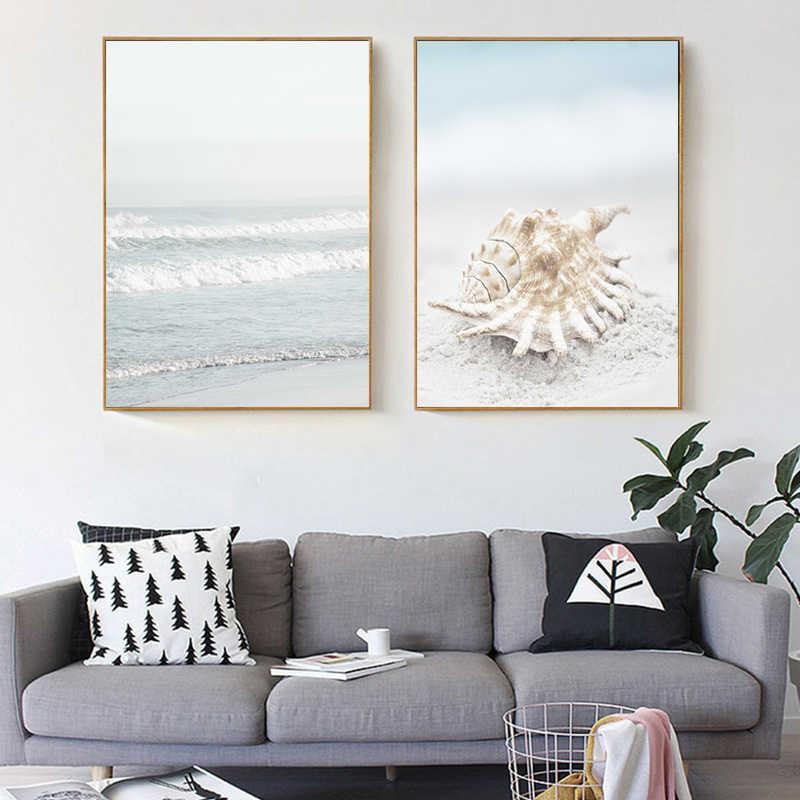 Hải lý Phong Cảnh Poster Vỏ Rong Biển Nghệ thuật treo Tường Đại Dương Sóng Tranh Vải và Hình In Phòng Tắm Hình cho Trang Trí Phòng Khách