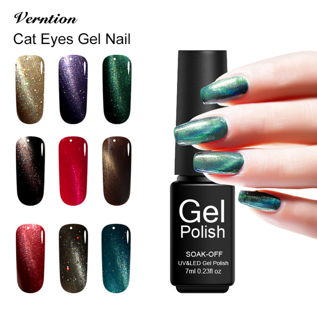 Verntion French Manicure Magnet Cat Eyes 7ml Uv Gel Nail Polish Long