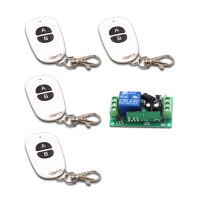 Oval White DC9V 12V 24V 1CH Wireless Remote Control Switch for Guard Door/Window/Curtain 4Transmitter & 1Receiver 315/433mhz
