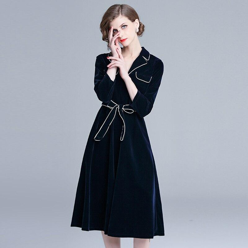 Automne hiver grande robe Swing femmes velours Patchwork manches longues col cranté robe décontracté manches longues ceintures robe Vestidos - 2