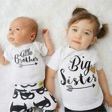 Одинаковые Семейные комплекты для мальчиков и девочек с надписью «Big Brother Little Sister»; комбинезон для маленьких мальчиков и девочек; футболка для девочек и сестер; топы