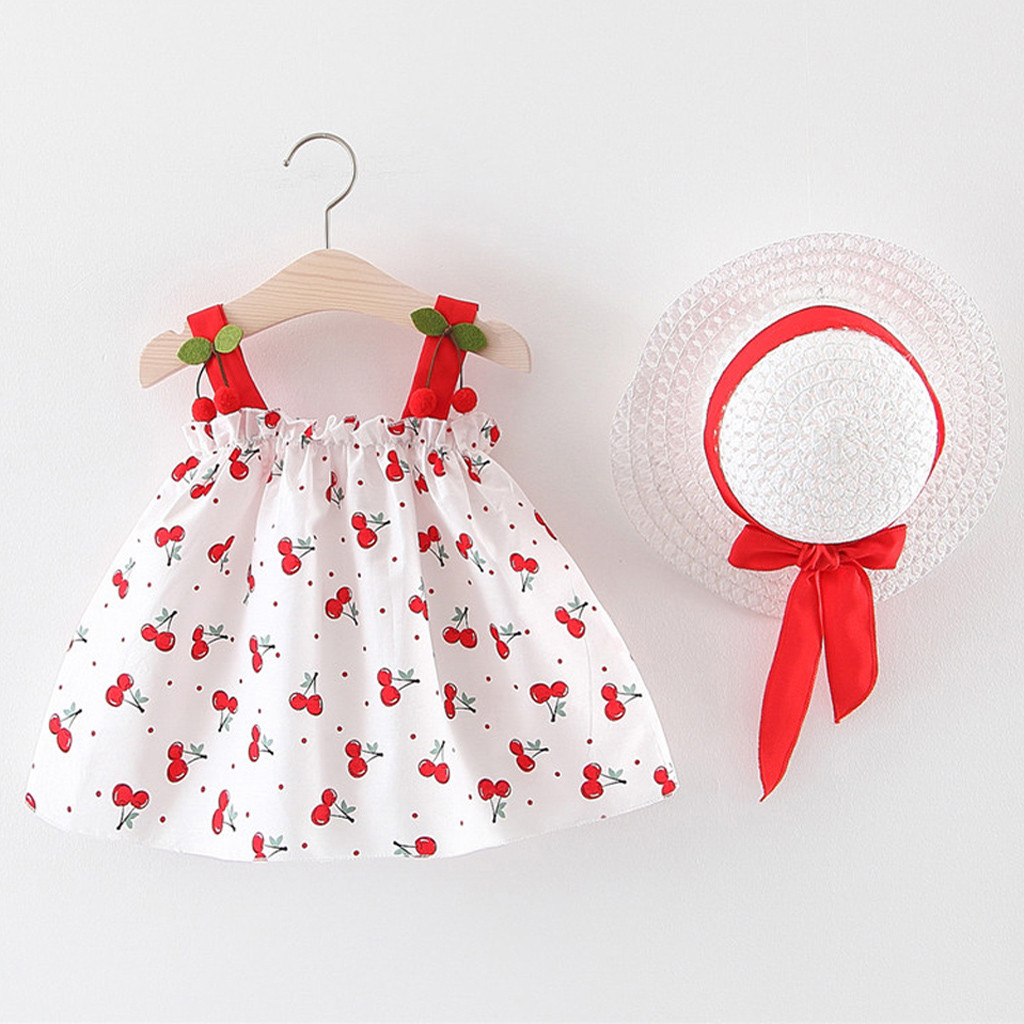 Baby Dress Summer Girls Princess Dress Cherry Print Sling Dress With Hats