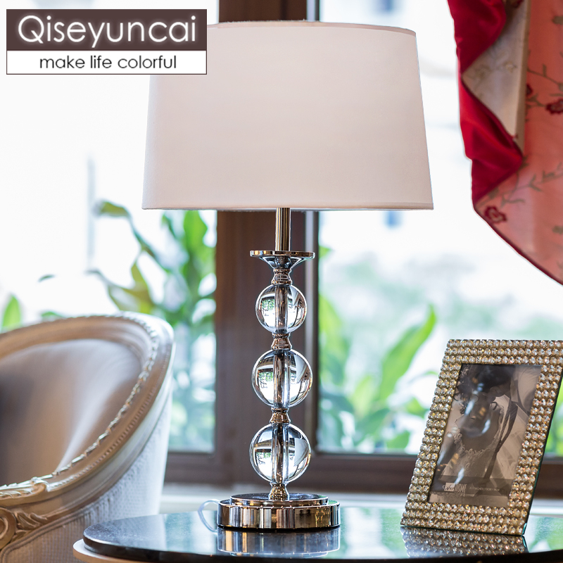 Qiseyuncai European Crystal Bedroom Bedside Table Lamp Small Table Lamp Simple Modern Hotel Decorative Lamp Free Shipping