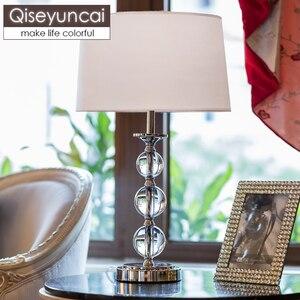 Qiseyuncai europeu de cristal quarto candeeiro mesa cabeceira pequena lâmpada simples e moderno hotel lâmpada decorativa frete grátis