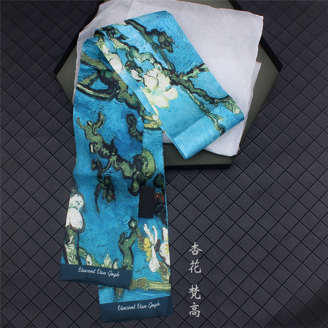 Van Gogh Oil Painting Twill Silk Scarf Women Neckerchief Skinny Scarf Bag Ribbons Female Neck Tie Head Scarves Wraps For Ladies