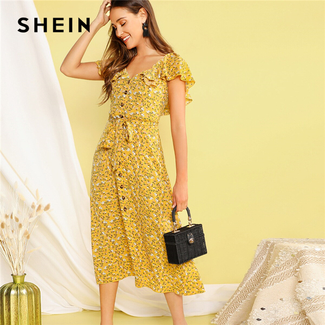feab2c069f SHEIN Boho Yellow Buttoned Ditsy Floral Ruffle Trim Self Belted Summer Long  Dress Women 2019 V Neck Fit and Flare Shirt Dresses