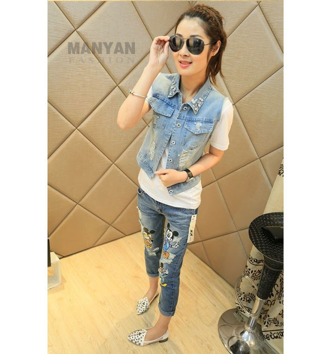 4920944591d 2014 NEW casual Cartoon Mouse jeans Cute Ripped denim jeans woman skinny  women's jeans Girls pants Free Shipping XY 2069-in Jeans from Women's  Clothing on ...