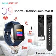 Pressão Arterial Monitor de Freqüência Cardíaca Relógio Inteligente IP67 Q9 Trakcer Relógio Das Mulheres Dos Homens Do Esporte Da Aptidão Smartwatch À Prova D' Água