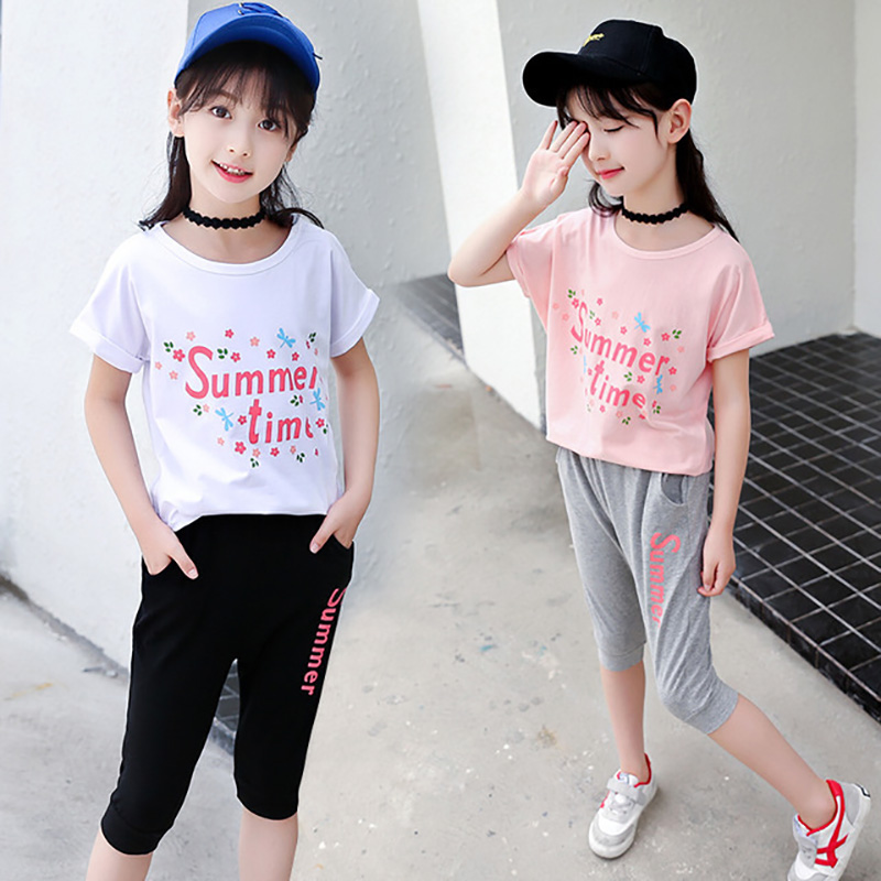 Childrens Summer Girls Short Sleeved T Shirt+ Haren Pants Sports Suit for Girls Sets 2-8 Ages Girl Kids Clothing Soft Cotton Childrens Summer Girls Short Sleeved T Shirt+ Haren Pants Sports Suit for Girls Sets 2-8 Ages Girl Kids Clothing Soft Cotton