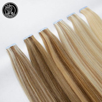 """Fairy Remy Hair 2.0g/pc 16"""" 100% Real Remy Straight PU Skin Weft Human Hair Extension Glue on Hair Extensions Seamless Tape ins"""