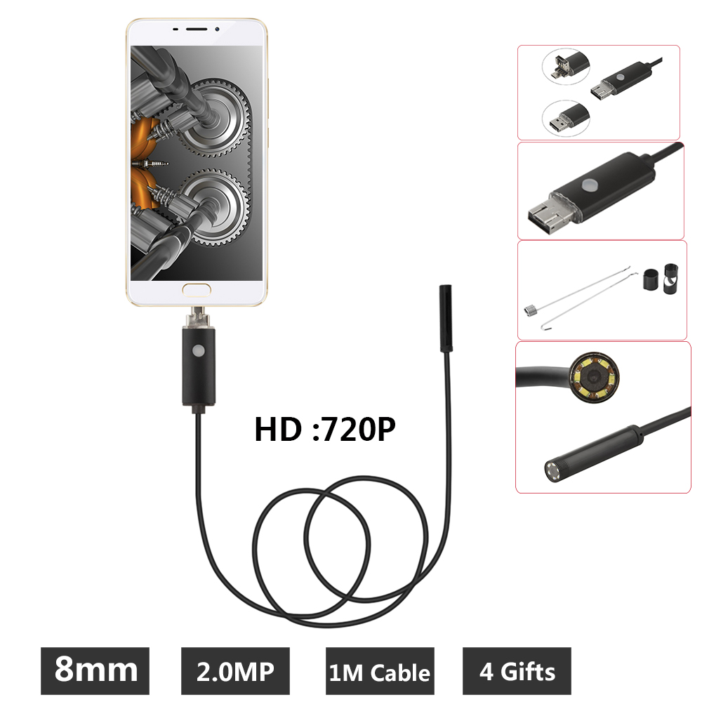 8mm Borescope 2MP USB Endoscope 1M Probe Waterproof Inspection Borescope 6 LEDs USB Wire Snake Tube