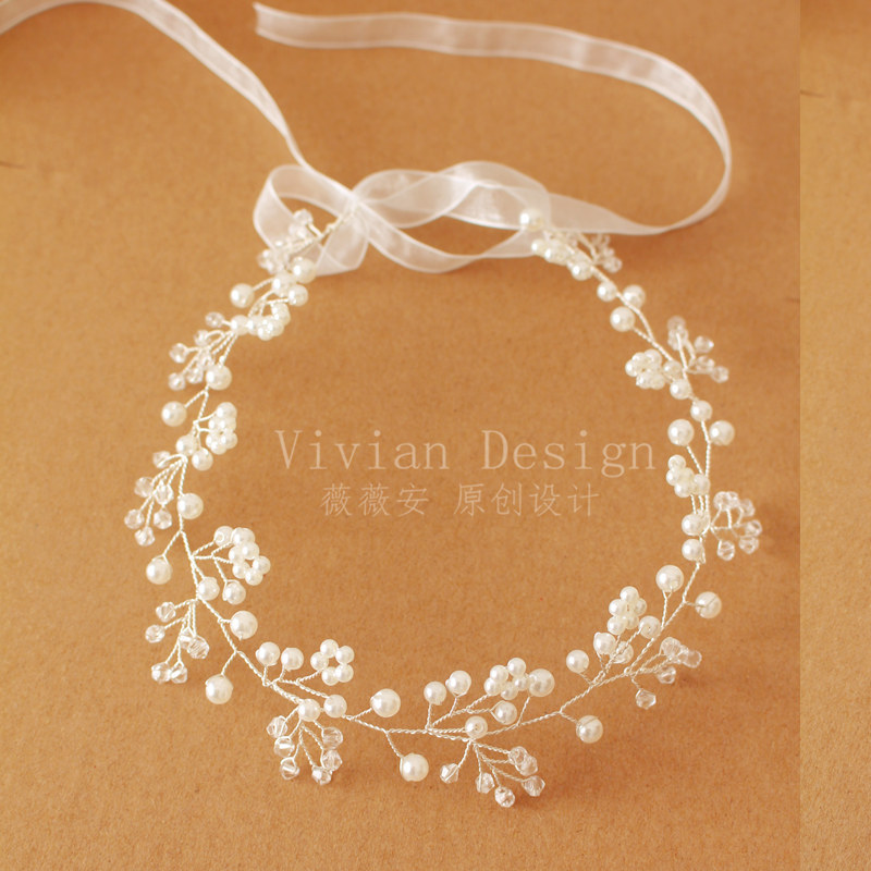 W210 Newest Artificial Pearl Garland Bride Pearl Crown For Wedding Festival Floral Garland Hair Flowers Free Shipping