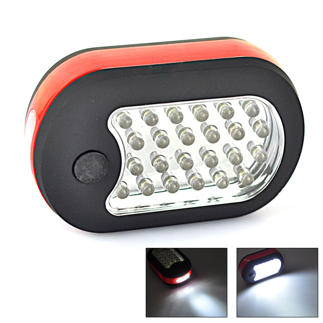 BORUiT Magnet Outdoor LED Hook Lighting Flashlight Emergency 24 LEDs Cob Torch Work light lamp 2 Modes Light Use AAA Battery