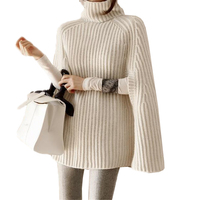 2018 Autumn Winter Casual Knitted Cloak Turtleneck Pullover Sweater Female OL Loose Split All Match Tricot Capes Coat O425