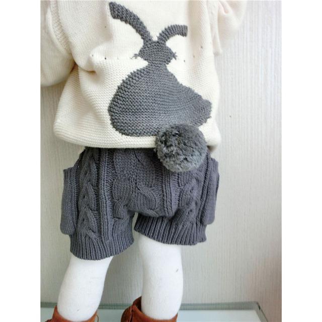 2017 Primavera Baby Girl & Boy Camisola Calções Boutique Crianças Shorts Com Bolsos de Malha De Lã de Coelho Dos Desenhos Animados Do Bebê Crianças Calções