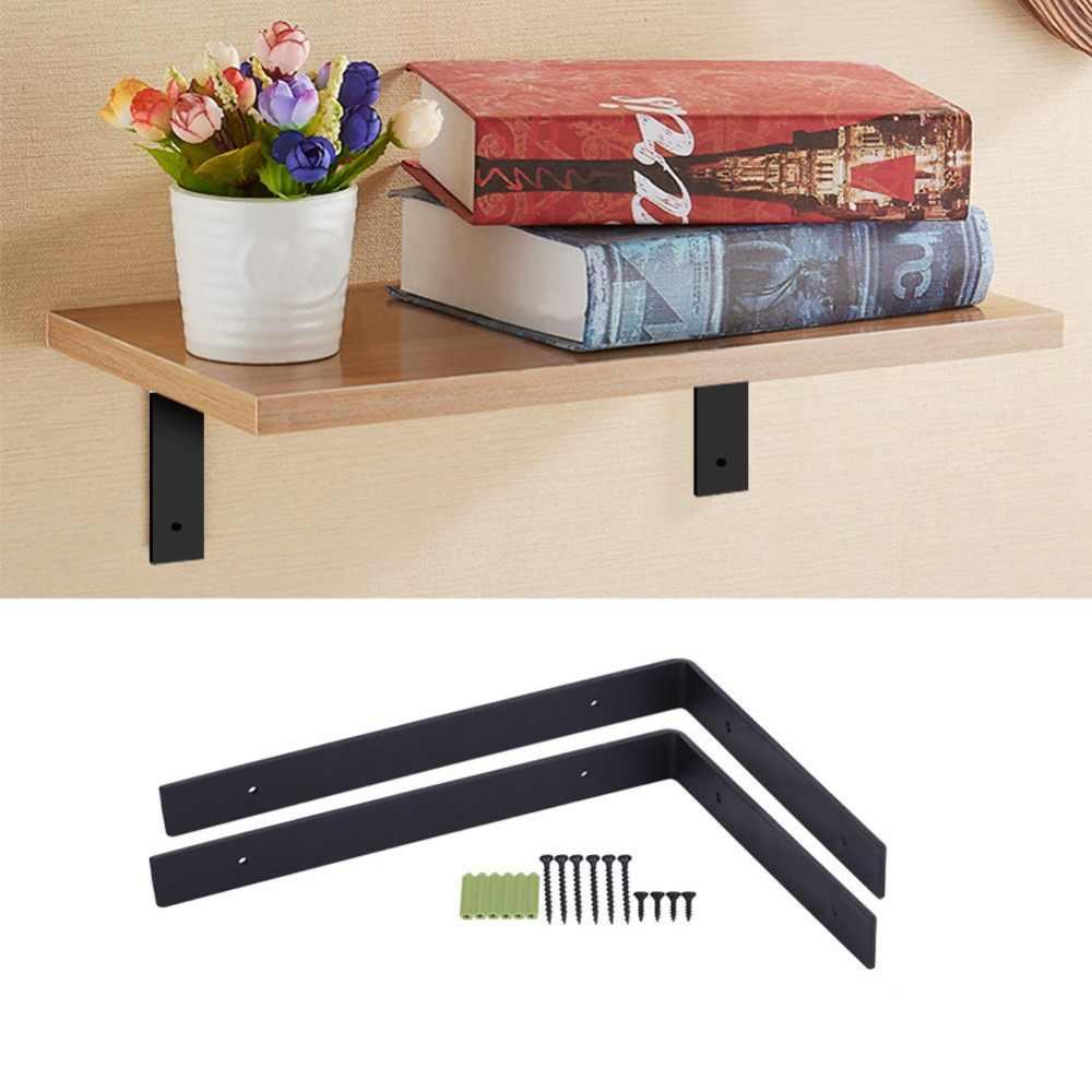 1 ペア鉄ヘビーデューティー棚壁ブラケット木製収納オーガナイザー棚 DIY 家の装飾