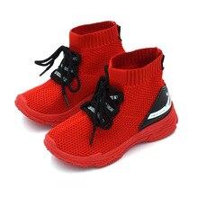 Autumn 2019 Boys Girls Top Sock Sneakers White Red Children's Non-slip Sport Running Shoes Toddler Kids School Tennis Shoes