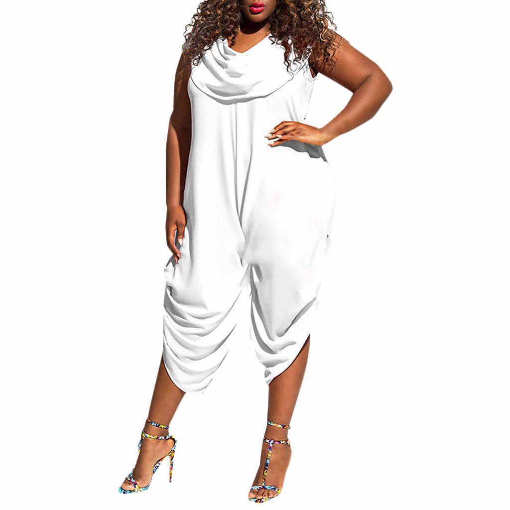 Новинка, хит продаж, модные женские без рукавов, мешковатый гаремный комбинезон женский костюм пляжного типа больших размеров, свободные штаны, Комбинезоны для женщин 2019 #418