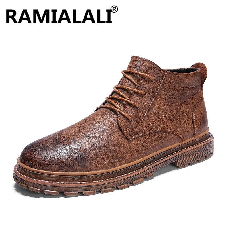 7fd8ae561ae Cuero Negro Para Moda Calidad Hombres Alta Antideslizantes Genuino marrón  Herramientas Hombre Nuevas Zapatos Botas Negro ...