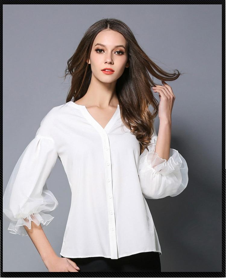 7bf19e5e9e Camisa de manga de linterna de la Oficina de la señora 2018 de moda de  nueve cuartos de manga de Organza Top temperamento mujeres cuello en V Puff  gasa ...