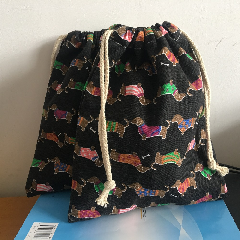 Canvas Drawstring Pouch Party Gift Bag Print Color Dogs Home Organizer Bag Black Base