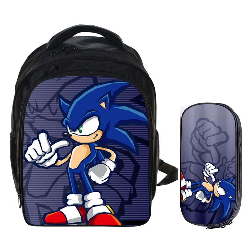 13 Inch Super Mario Bros Sonic Boom the Hedgehog Boys School Backpacks Children Bagpack Kids Cartoon Mochila Pencil Bag Sets