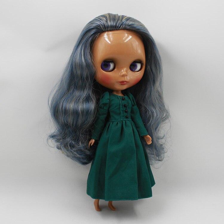 Новый список звезда темный загар черный блит обнаженная кукла DIY макияж синий длинные волосы принцесса куклы и игрушки девушки подарки