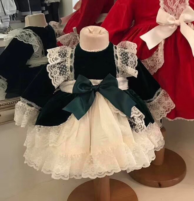 39ddeacc37387 Baby Dress for Girls Princess Brithday Party Dresses Girl Christening  Spanish Kids Dress Pink Robe Fille Children Clothing 3PCS