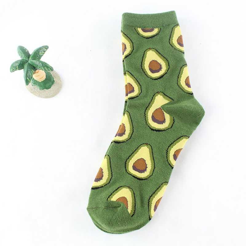 Kadın çorap pamuk renkli karikatür sevimli komik mutlu Kawaii Moltres avokado çorap kız için yeni yıl hediye