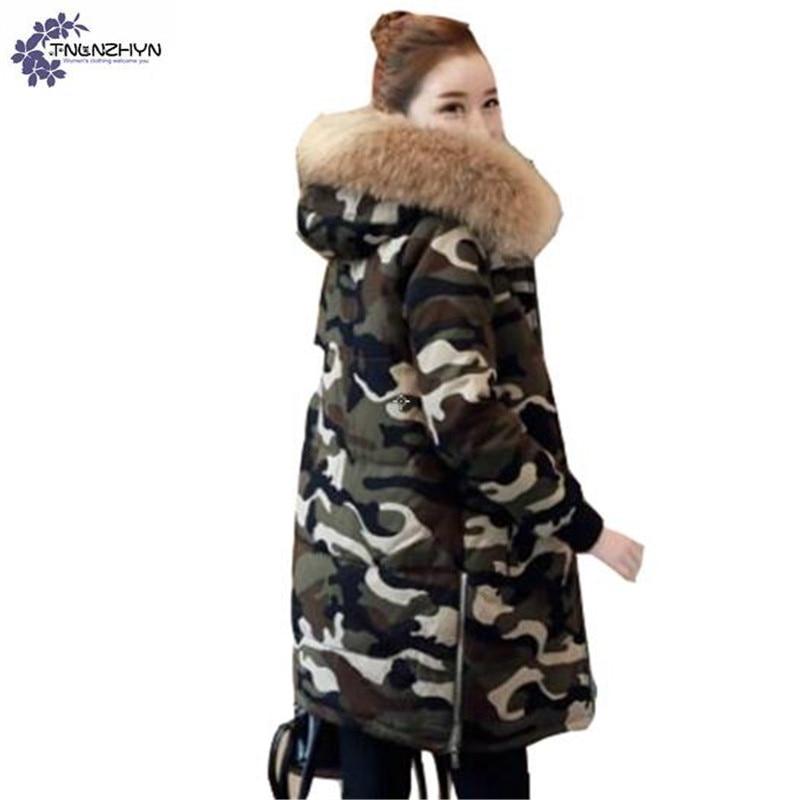 цены на TNLNZHYN Women clothing warm Cotton coat winter new loose Big yards Thickening hooded fur collar Long female Cotton coat QQ100 в интернет-магазинах