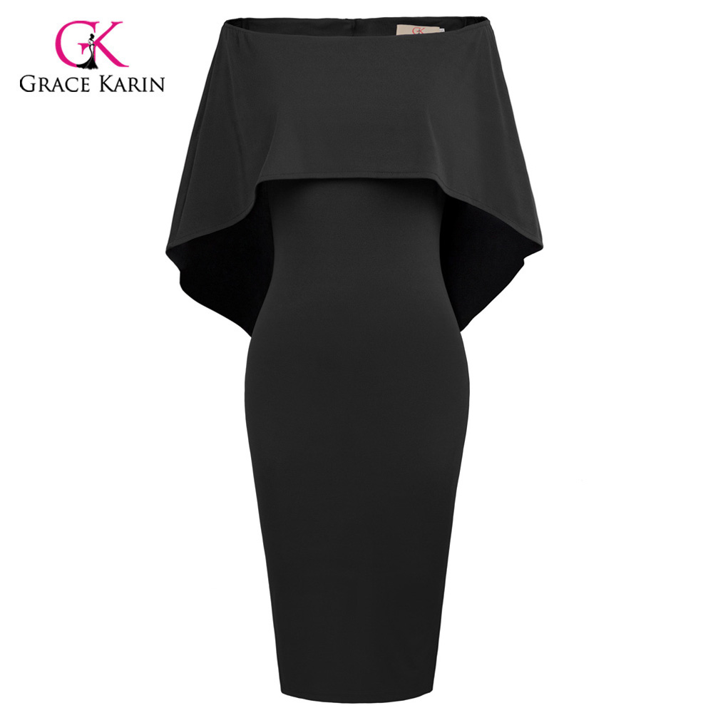 Grace Karin Short Evening Dress Cloak Cape Drape Tunic Formal Celebrity Elegant Evening Party Sheath Bodycon Pencil Dress Summer skinny lacework slit bodycon dress