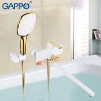GAPPO bathtub faucets white and gold bathroom set bathroom faucet shower system waterfall bath mixer