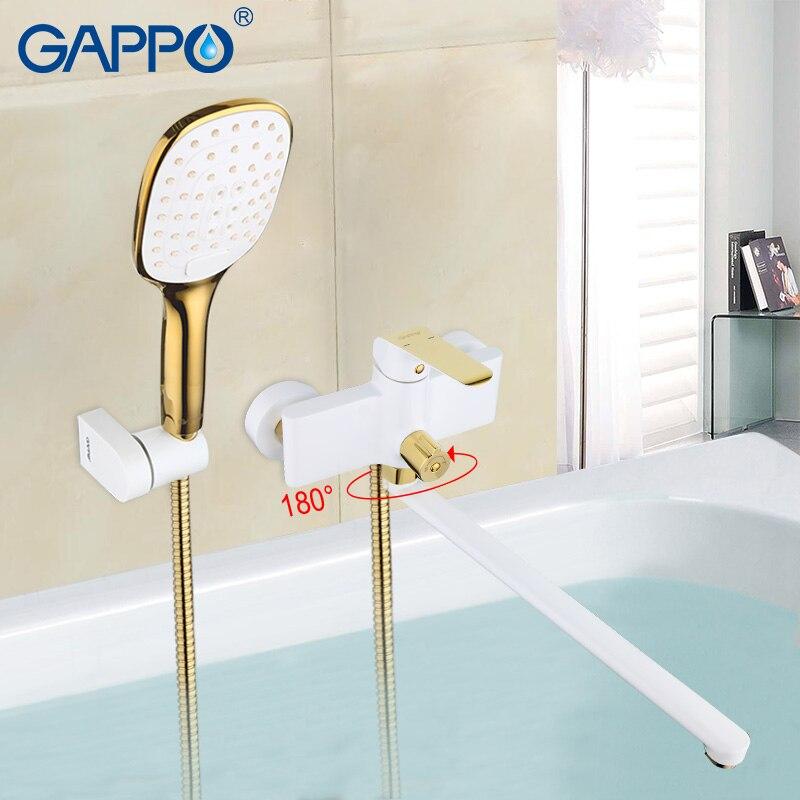 GAPPO robinets de baignoire blanc et or ensemble salle de bain robinet salle de bain système de douche cascade mitigeur de bain