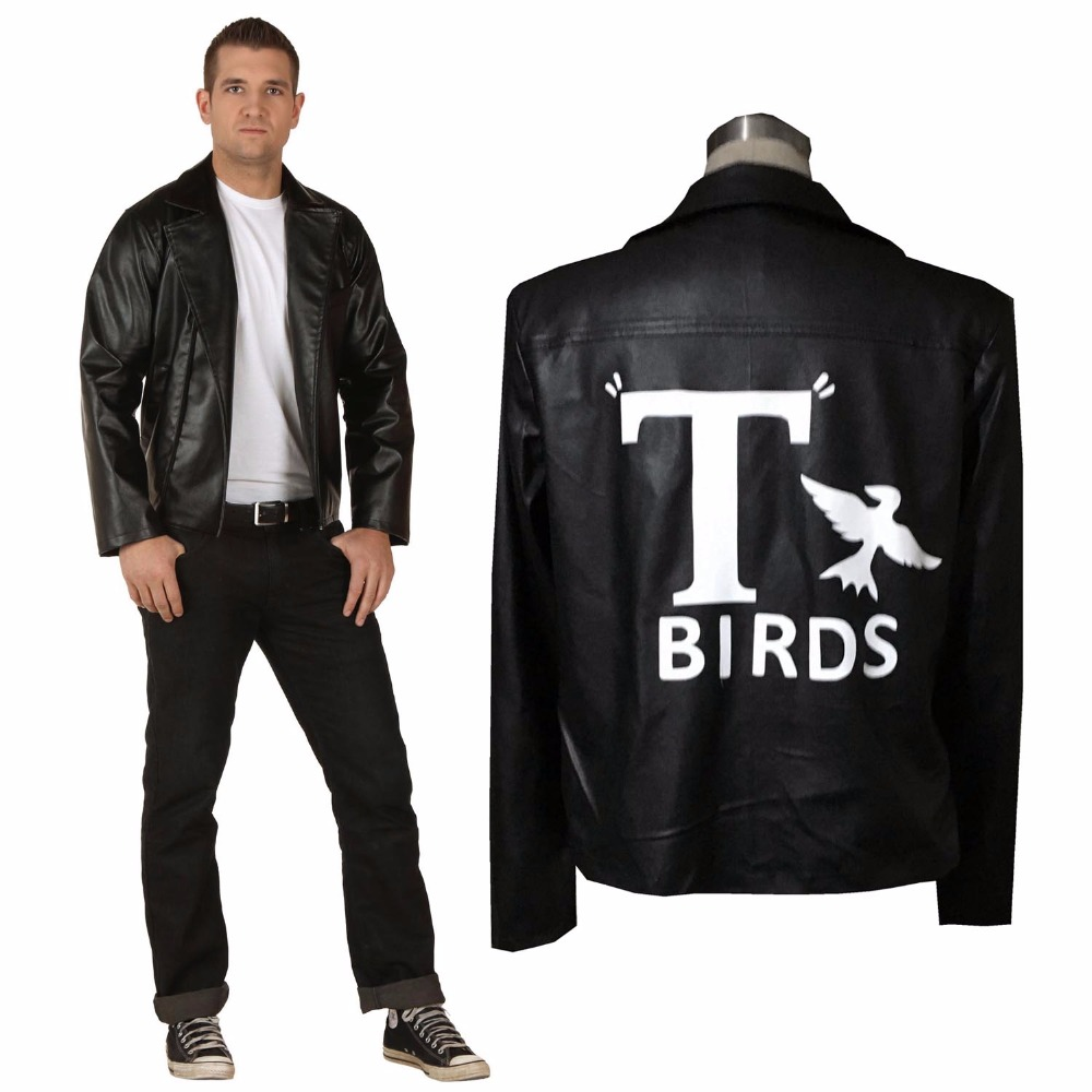 Mens Grease Birds Jacket Adults Birds 50's Danny Fancy Dress Costume Adult Outerwear Black Jacket Faux Leather Cosplay Costume-in Holidays Costumes from Novelty & Special Use    1