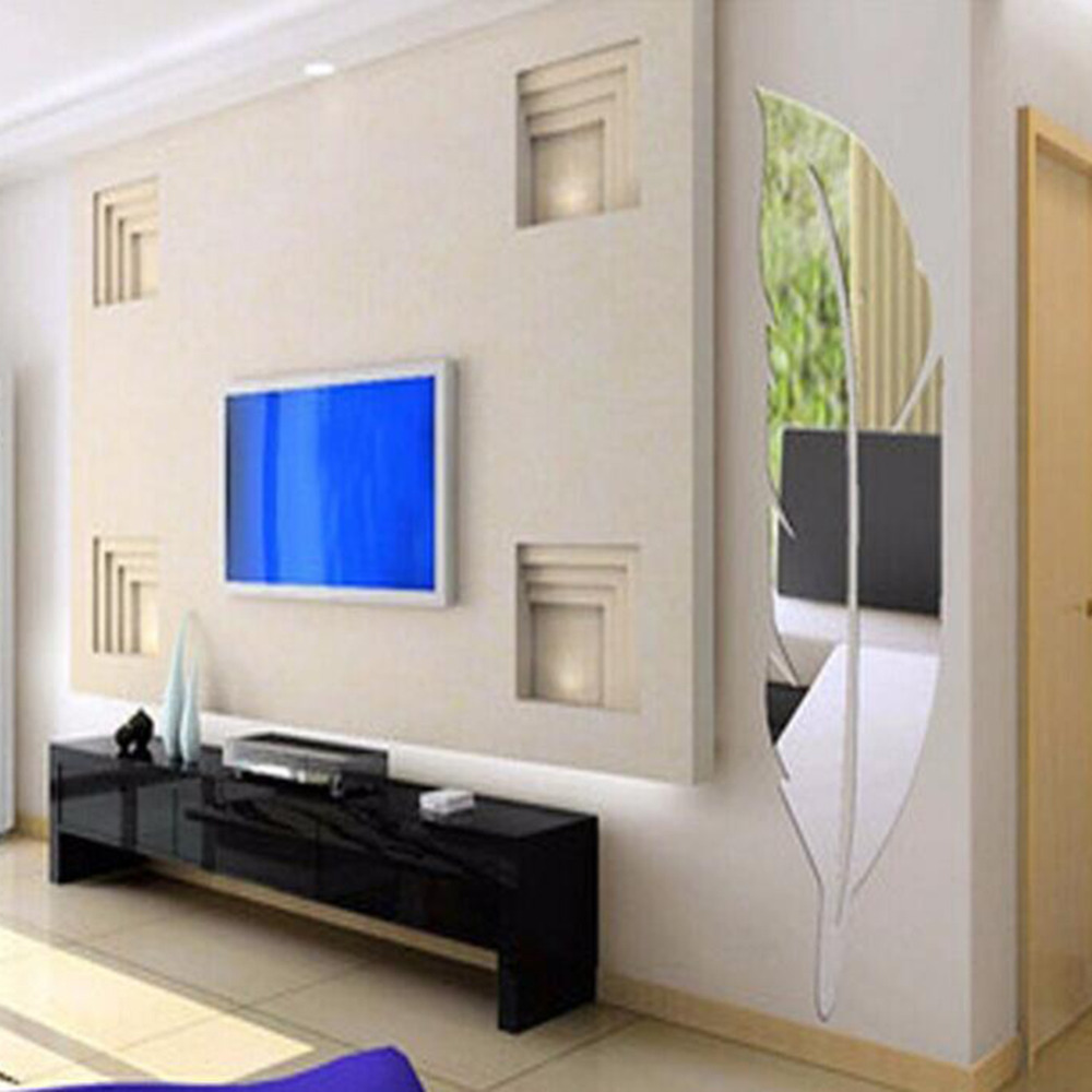 Diy 3d feather mirror wall stickers home decor wall dressing diy 3d feather mirror wall stickers home decor wall dressing mirror decals adesivi murali room for home decoration murale in wall stickers from home amipublicfo Image collections