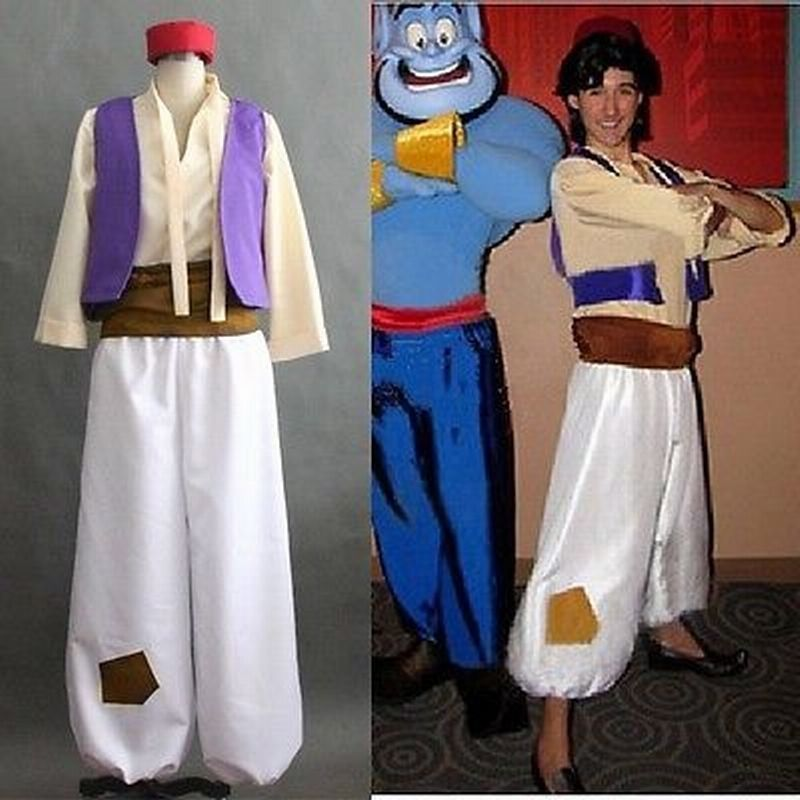 Cartoon Animation Aladdin Prince Cosplay Costume Men Costumes Full Set XS S M L XL XXL