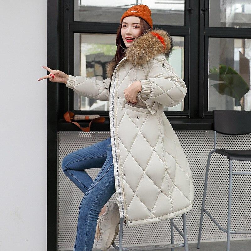 Womens Warm Hooded Coats Fashion Hair Collar 2019 Autumn Winter Ladies Cotton Padded Jacket   Parka   Plaid Female White Overcoats