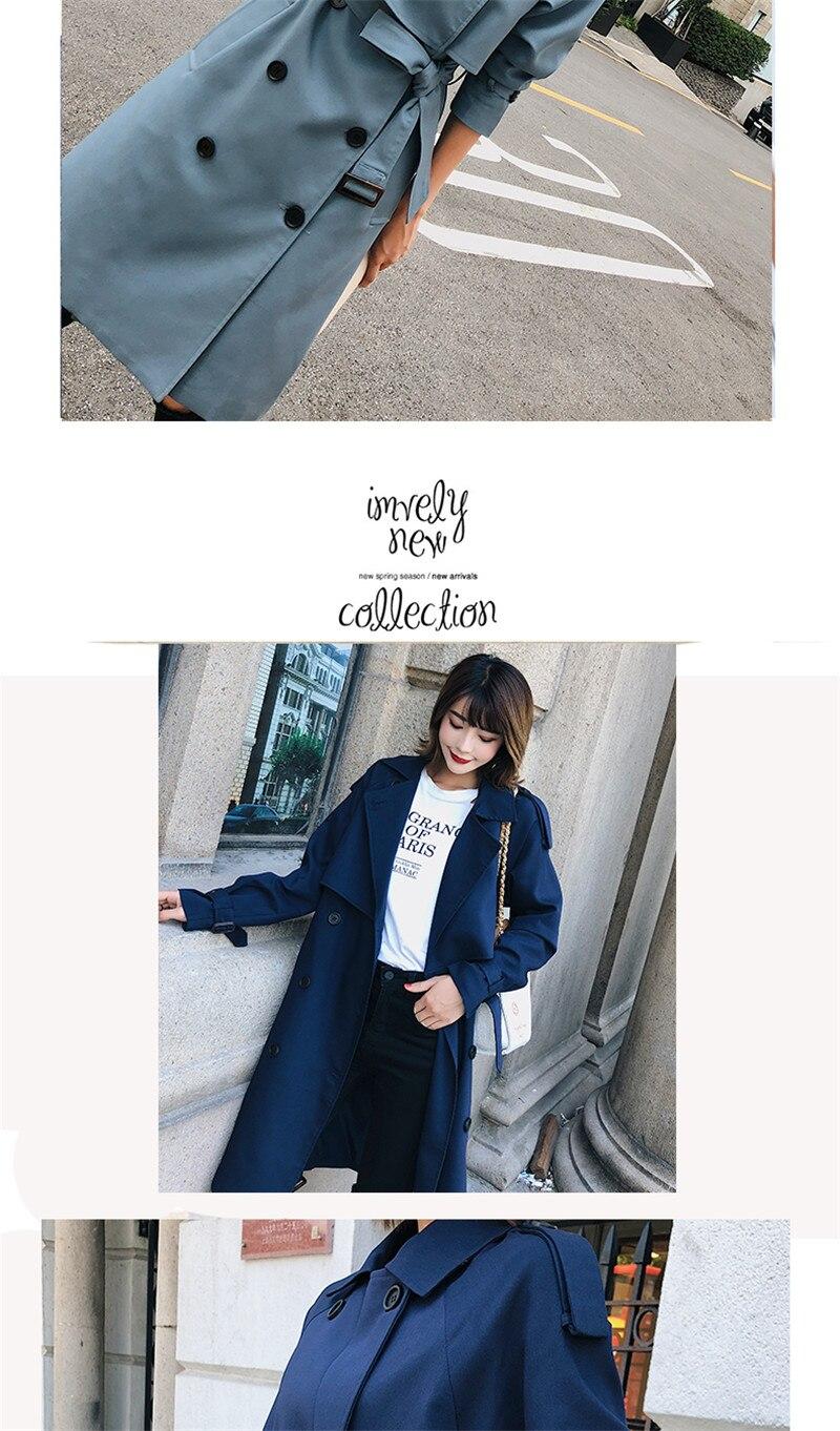 Windbreaker Female 19 Spring Autumn new Korean leisure chic loose ladies harbor wind Long Trench Coat for women X509 blue 7