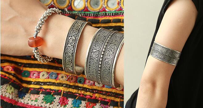 Folk style jewelry silver bracelet retro drawing wide open armbands Bracelet