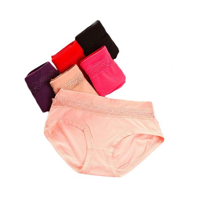 7aa2a4c4257 Mujeres Ropa interior algodón antibacterial versión Grande Medio cintura  Encaje Bragas brief inconsútil Bragas ropa interior
