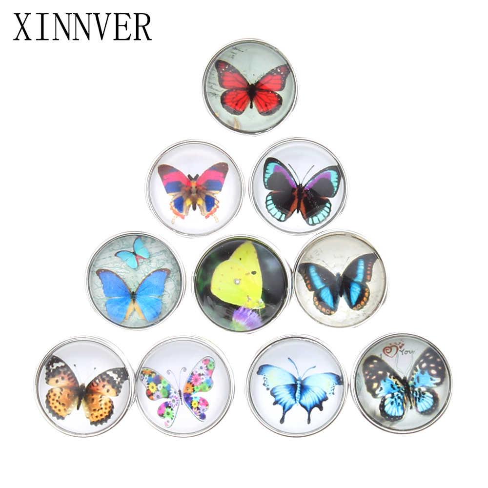 10 cái/lốc 18 mét Nút Bướm Jewelrys Glass Cabochon Xinnver Snaps Fit Snaps Vòng Tay Trang Sức hoặc vòng cổ Cho Phụ Nữ ZB310