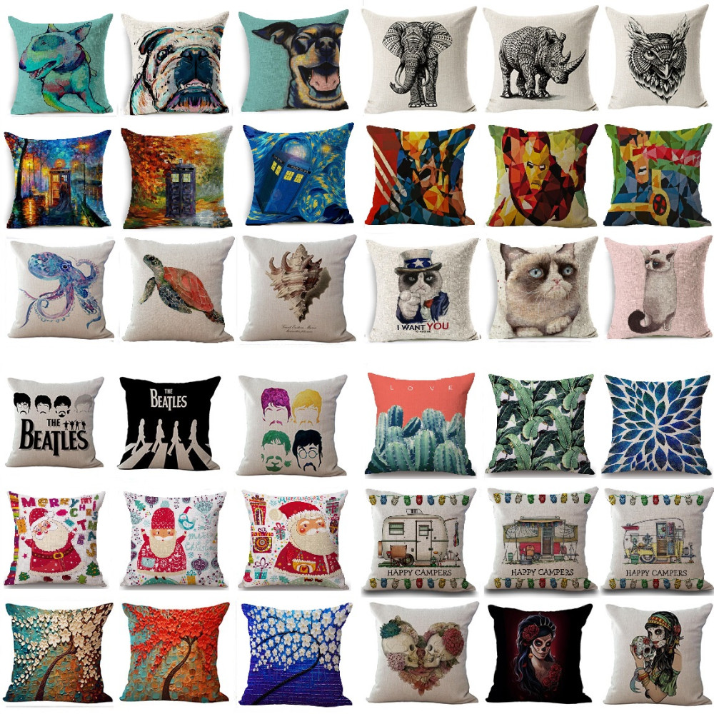 Hot Sale Cushion Cover Vintage Cotton Linen Animal Skull Case Home Decoration Car Sofa Decorative Pillowcase almofadas