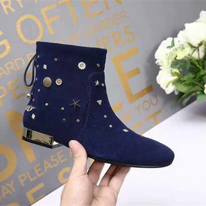Las Marca Negro as Punta Bottine De Genuino Pic Pic Vintage Mujer Zapatos Mujeres Invierno Caballero Cuero Azul Hebilla Metal Botas As q6xxnptF