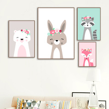 Cute Animals Bunny Bear Fox Raccoon Wall Art Canvas Painting Nordic Posters And Prints Cartoon Pictures For Kids Room Decor