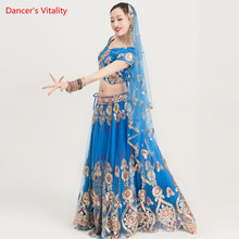 2018 New Adult India Dance Clothes Belly Dance Suit Women Dance Stage Performance Costumes Tops+Big Swing skirt+Veil 3pcs Set