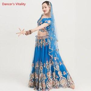 Image 1 - Ropa de baile India para adultos, traje de danza del vientre para mujer, trajes de espectáculo escénico, Tops + falda de Swing grande + conjunto de velo, 3 uds., novedad de 2018