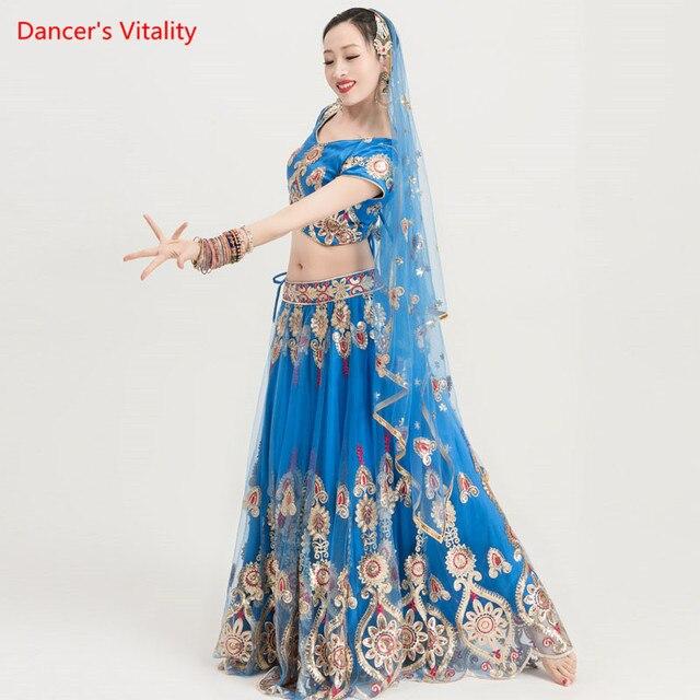 Ropa de baile India para adultos, traje de danza del vientre para mujer, trajes de espectáculo escénico, Tops + falda de Swing grande + conjunto de velo, 3 uds., novedad de 2018