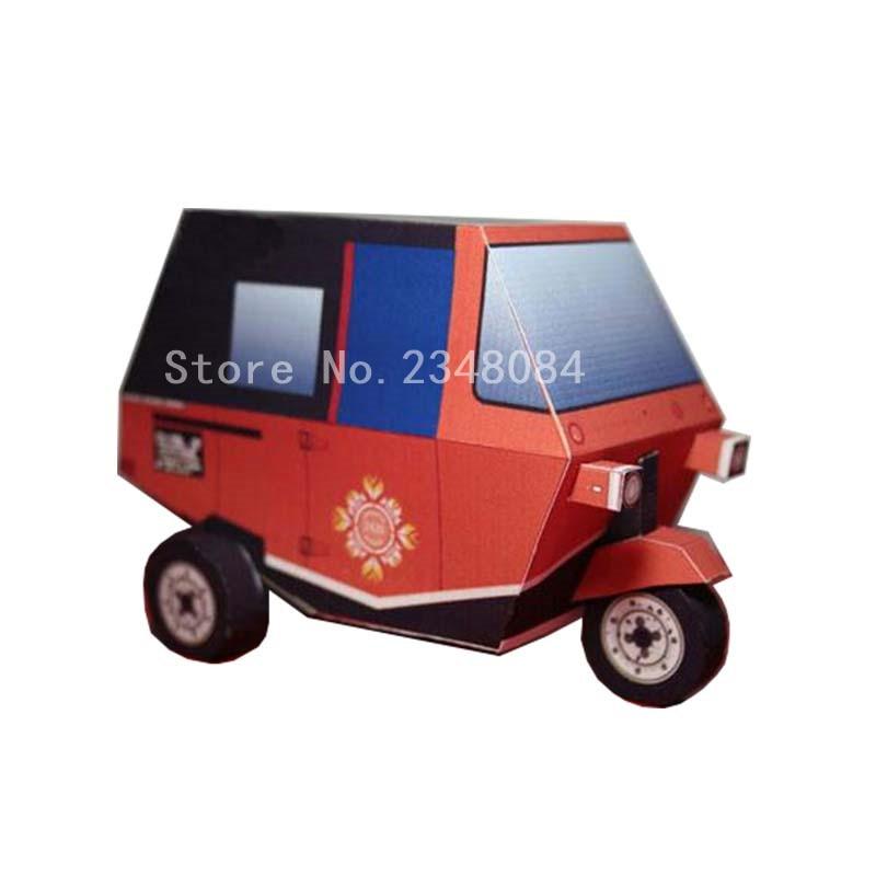3D Paper Model Cars Tuk Electric Tricycle Simple DIY Paper